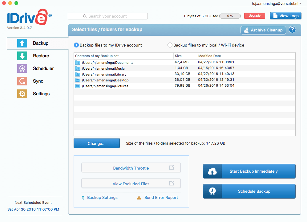 Overview selected folders backup